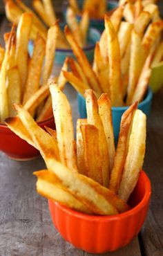How to Make Perfect Crispy Oven Baked French Fries-red-turquoise-tiny bowls | COOKINGONTHEWEEKENDS.COM
