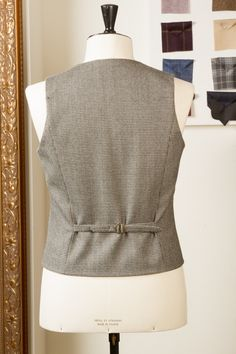 Waistcoat Bespoke Tailored Handmade Asymmetric Double Breasted Houndstooth Puppytooth