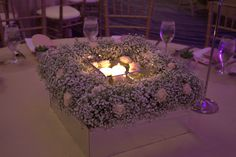 A mirror Box with a floral topper and candle accents made for a stunning small centerpiece Small Centerpieces, Mirror Box, Wedding Consultant, Set Up An Appointment, Event Design, Wedding Styles, Candles, Floral, Outdoor Decor