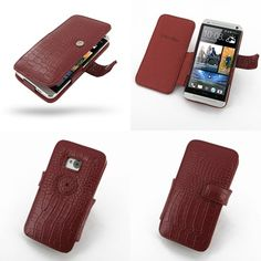 PDair Leather Case for The New HTC One 801e 801s - Book Type (Red/Crocodile Pattern)