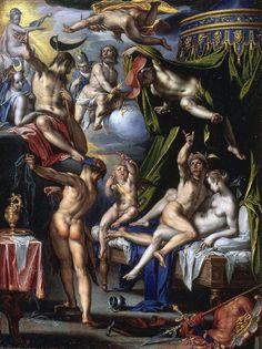 """Joachim Wtewael – """"Marte y Venus sorprendidos por Vulcano"""" (1601, pintura sobre cobre, Mauritshuis, La Haya). MANIERISMO. Venus estaba casada con Vulcano, pero tenía como amante a Marte. Lo descubrió Apolo, el dios del sol, y se lo comunicó a Vulcano y el resto de los dioses. Para atrapar al amante, Vulcano forjó una red en la que atrapar a Marte. Esta historia la trata Wtewael de manera más bien desenfada y cómica, en lugar del tono moralista que se puede apreciar en otras versiones del…"""