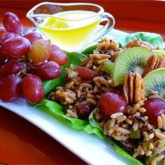 Nutty Wild Rice Salad with Kiwifruit and Red Grapes http://allrecipes.com/recipe/nutty-wild-rice-salad-with-kiwifruit-and-red-grapes/
