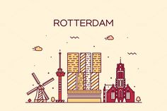 Rotterdam skyline (Netherlands) by grop on Creative Market