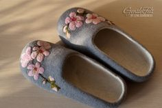 Felted slippers with cherry blossoms for a girl