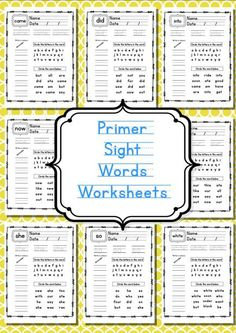 Free Primer Sight Word  Worksheets - the whole enchilada ready to print out and use for free.  51 pages in black and white.