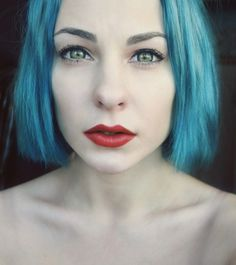 Girl with Blue Hair, White Skin and Red Lipstick