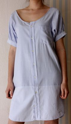 Recycled mans' shirt Blue dress by machemisedhomme on Etsy (Diy Clothes Refashion) Diy Clothing, Sewing Clothes, Shirt Refashion, Clothes Refashion, Dressmaking, Diy Fashion, Trendy Fashion, Sewing Patterns, Men's Shirts