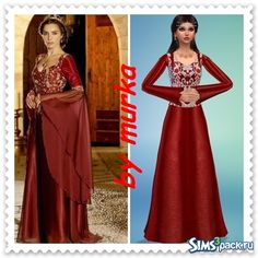 "TS4 Red dress Mahidevran Sultan for fans of the series ""Magnificent Century""…"