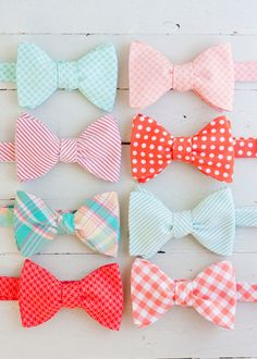 Coral and mint bow ties @ Etsy