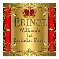 Prince First Birthday Boy Red Gold Crown Card Elegant Prince Baby First Birthday Party for Boy, Royal Regal Little Prince on Regal Red Gold Crown. Prince Birthday Party, Baby Boy 1st Birthday Party, 1st Birthday Party Invitations, First Birthday Parties, Baby Shower Invitations, Prince Party, Birthday Ideas, Birthday Cards, Happy Birthday