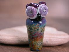 Owl Totem Lampwork Glass Focal Bead Deep by DivineSparkDesigns, $22.00