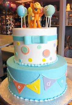 A pony birthday cake with pastel designs! Cake # 097.