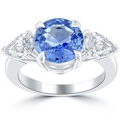 4.05 Ct Natural Blue Sapphire & White Diamond Cocktail Fashion Ring 14k Gold - Thumbnail 1