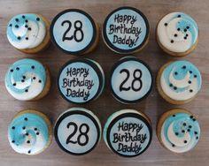 birthday cupcakes for him, men, guy, boy, blue white and black buttercream swirl color