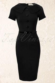 Tatyana - 50s Jade Black Wiggle Pencil Dress Retro