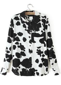 Black White Lapel Long Sleeve Cow Spots Print Blouse
