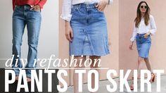 Super easy DIY Jean pants to JEAN SKIRT refashion