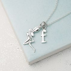 Lily Charmed Silver Fairy Necklace personalise with a letter charm Silver Charms, Sterling Silver Necklaces, Silver Earrings, Silver Ring, Charm Necklaces, Earrings Uk, Stylish Letters, Quartz Crystal Necklace, Fairy Jewelry