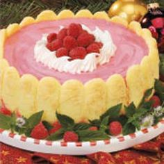 Red Raspberry Mousse Dessert: I've lightened this by not using the cookies, and using light cool-whip and sugar free gelatin instead.