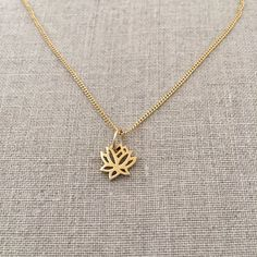 14k Lotus Necklace - Gold Lotus Necklace - Tiny Lotus Necklace - Small Lotus Necklace - Solid Gold - Lotus Flower Necklace - Lotus Blossom