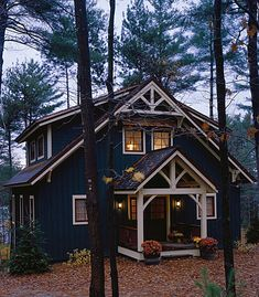 PineRidge Timberframe - Newbury Blue Marine Ivory Ornamental Cabin in Wood - . - PineRidge Timberframe – Newbury Blue Marine Ivory Ornamental Cabin in Wood – - Style At Home, Cabins And Cottages, Tiny Cabins, Lake Cabins, Cabins In The Woods, Cottage In The Woods, Rustic Cottage, Rustic Cabins, House In The Woods