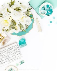 Shay Cochrane / In the shop: Mint Green, White, and Gold Styled Desk Stock