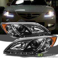 0408 mazda3 sedan ccfl angel eye halo projector headlights black