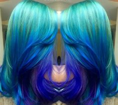 Teal blue purple hair