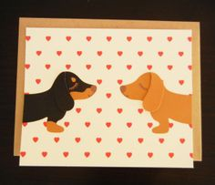 Teriyaki and BBQ the Dachshunds Doxies Heart Print Note by Cuore, $5.00