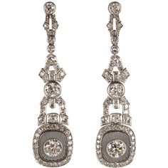 Amazing Art Deco Diamond Rock Crystal Platinum Earrings - Polyvore