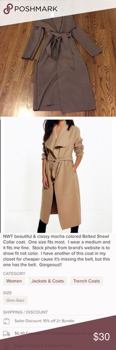 NWT Mocha Belted Shawl Coat See pics for description of item.  I will also be posting an olive green and Navy one soon. Boohoo Jackets & Coats