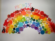 Rainbow collage using fun items! Rainbow collage using fun items! Rainbow Activities, Rainbow Crafts, Rainbow Art, Rainbow Room, Bible Activities, Vbs Crafts, Church Crafts, Preschool Crafts, Bible For Kids