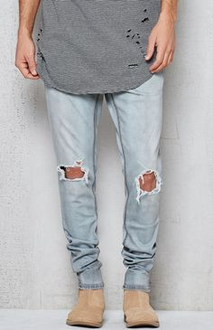 401db243d42aa7 PacSun Skinniest Medium Destroyed Active Stretch Jeans Destroyed Jeans