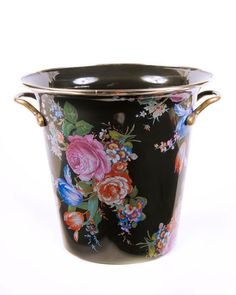 H7PX1 MacKenzie-Childs Flower Market Black Enamel Wine Cooler