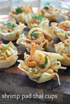 Shrimp pad thai cups in wonton wrappers... love this for a party appetizer