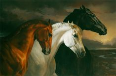 """Jaime Corum- """"The Three Jewels (Street Sense, Curlin, Rags To Riches)""""  Oil on canvas  Probably not this picture, but this is one of my favorites that she's done. I do want a horse painting by her in my house one day."""