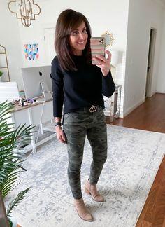 5 Ways to Wear a Black Sweater - Cyndi Spivey Camo Pants Outfit, Black Sweater Outfit, Joggers Outfit, Outfits With Camo Pants, Camo Leggings, Cyndi Spivey, Fashion Over 40, 50 Fashion, Fashion Black
