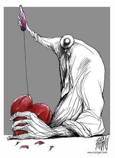 Cuban cartoonist Angel Boligan creates contemporary provoking cartoons with a touch of sadness and surrealism. Art And Illustration, Caricatures, Deep Art, Mexican Artists, Heart Art, Art Pictures, Art Drawings, Drawing Art, Sketches