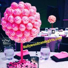 Pink White Black Lollipop Sucker Striped by HollywoodCandyGirls Candy Centerpieces, Simple Centerpieces, Wedding Centrepieces, Decor Wedding, Hollywood Candy, Black And White Centerpieces, Large Lollipops, Candy Land Theme, Candy Trees