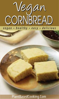 This slightly sweetened vegan cornbread is every bit as tasty as the non-vegan and perfect served alongside a comforting chili on a cold winter's day. Enjoy with a touch of vegan honey. Vegan Baking Recipes, Dairy Free Recipes, Whole Food Recipes, Bread Recipes, Vegan Snacks, Vegan Food, Vegan Cornbread, Dairy Free Cookies, Vegan Side Dishes