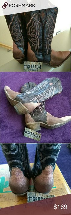 Corral Boots Brown, mauve, and pink Corral boots. Corral Shoes Combat & Moto Boots