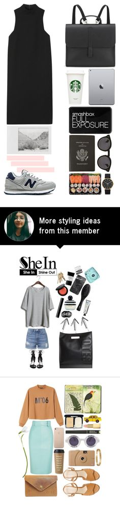 """""""BLACK, GRAY AND SOFT PINK"""" by cemreozkan on Polyvore featuring Rosetta Getty, Danielle Foster, Smashbox, Smythson, Illesteva, Marc by Marc Jacobs, Polaroid and New Balance"""