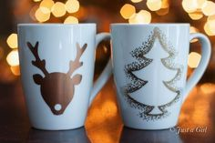 Make these cute Christmas mugs for gifts or just as a decoration - easy to make using Sharpie oil based marker pens