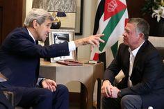 Jordanian King Abdullah II, right, meets with U.S. Secretary of State John Kerry at the Royal Palace in Amman Jordan, Saturday, Oct. 24 2015. (Photo: Raad Adayleh/AP)