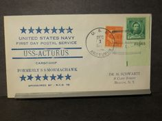 USS ARCTURUS AKA-1 Naval Cover 1940 HUTNICK FDPS Cachet ex SS MORMACHAWK