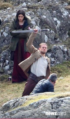 Charlie Hunnam and Astrid Berges-Frisbey film scenes for the upcoming movie 'Knights of the Round Table' in Capel Curig, Wales on April 17, 2015 in London, United Kingdom. (Photo by Radcliffe/Bauer-Griffin/GC Images)