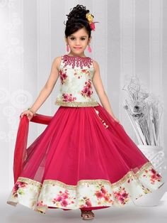 Shop Exclusive magenta net party wear lehenga choli online from India. Gowns For Girls, Little Girl Dresses, Girls Dresses, Flower Girl Dresses, Toddler Dress, Baby Dress, Kids Lehenga Choli, Kids Gown, Party Wear Lehenga