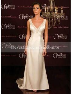 Linha-A/Princesa Decote em V Cetim Cauda Longa Vestidos de Noiva