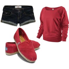 nike sweater, hollister shorts, and toms..
