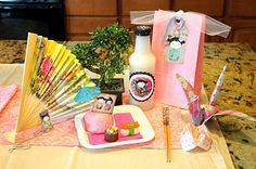 "Girly Japanese birthday party ideas. ""Sushi"" made from halved powdered mini donuts, gummy fish, and fruit by the foot. So cute!"